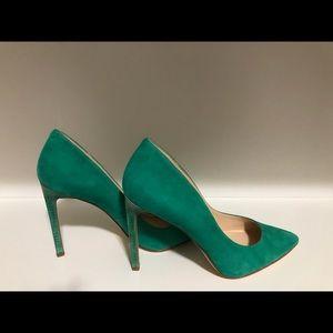 New Nine West Suede Green Heels 8M